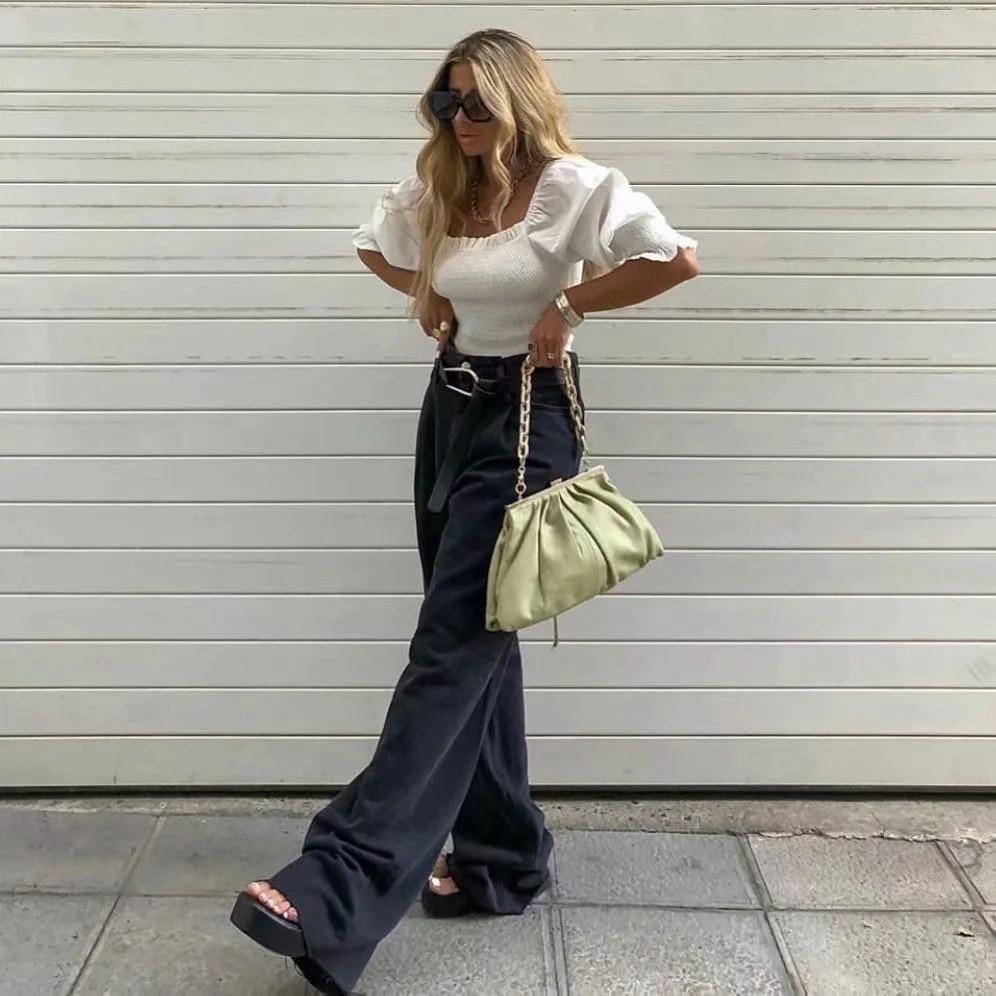 Jeans wide leg large en jean Pantalon vetement tendance femme Sentence Love