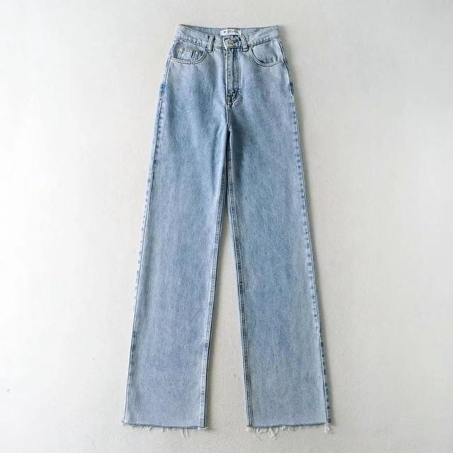 Jeans wide leg large en jean Pantalon vetement tendance femme Sentence Love light blue / L