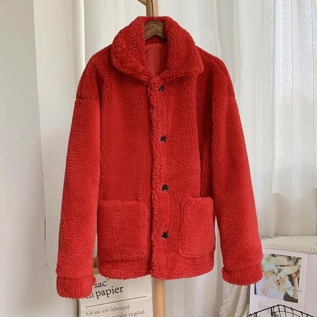 Manteau moumoute doux fluffy Manteau vetement tendance femme Sentence Love red fur coat / S