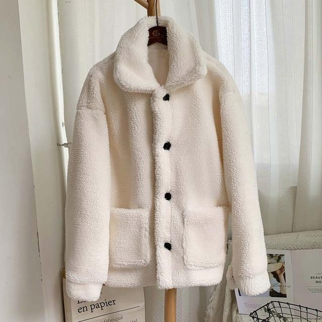 Manteau moumoute doux fluffy Manteau vetement tendance femme Sentence Love white fur coat / S