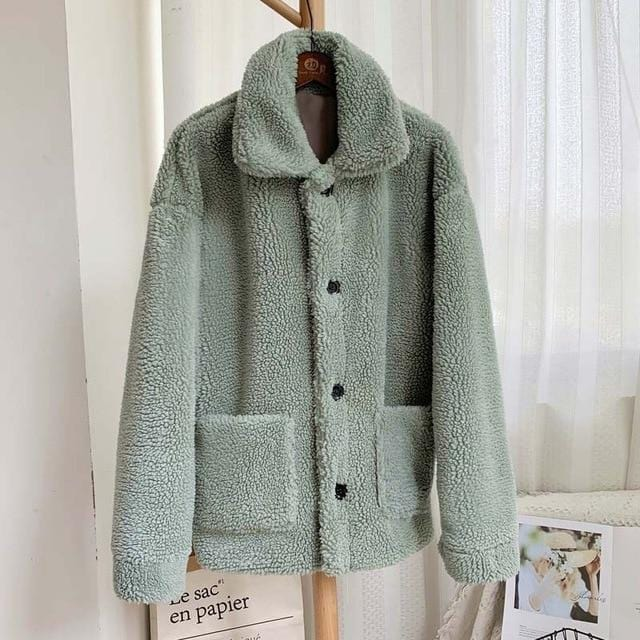 Manteau moumoute doux fluffy Manteau vetement tendance femme Sentence Love green fur coat / L