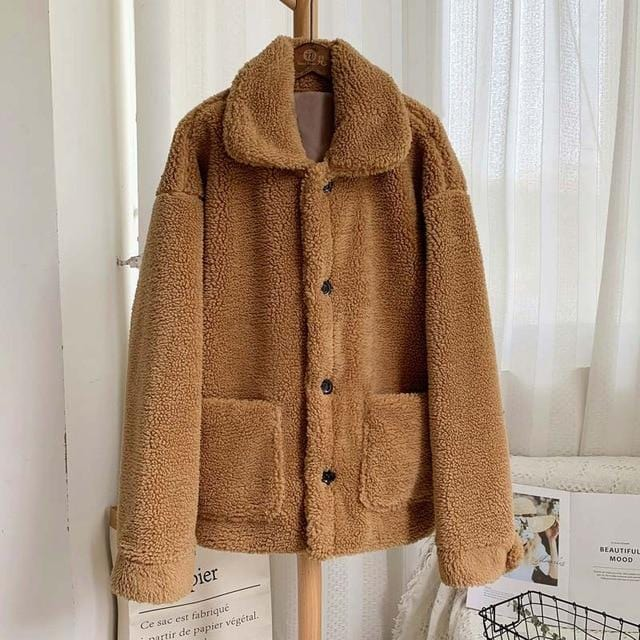 Manteau moumoute doux fluffy Manteau vetement tendance femme Sentence Love brown fur coat / S