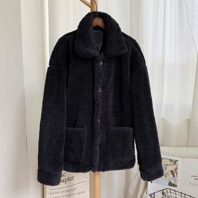 Manteau moumoute doux fluffy Manteau vetement tendance femme Sentence Love black fur coat / S