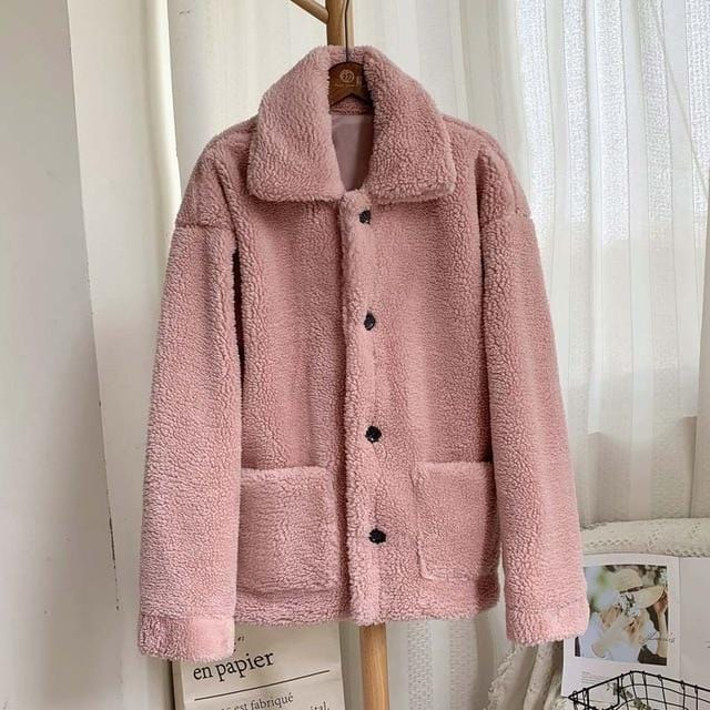 Manteau moumoute doux fluffy Manteau vetement tendance femme Sentence Love peach fur coat / S