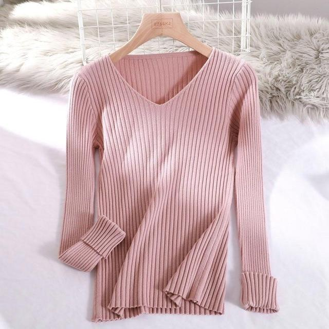 Pull basic col v moulant Pull vetement tendance femme Sentence Love Pink / One Size