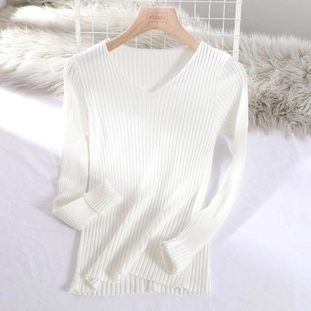 Pull basic col v moulant Pull vetement tendance femme Sentence Love White / One Size