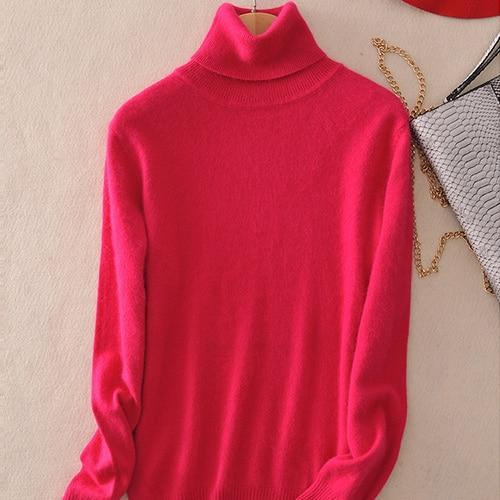 Pull col roulé 20% cashmere Pull vetement tendance femme Sentence Love Rosy / S