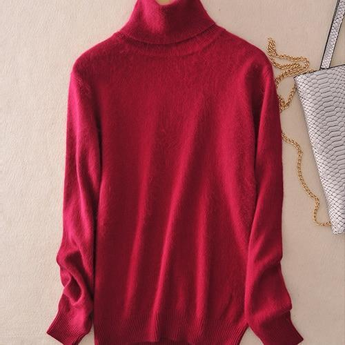 Pull col roulé 20% cashmere Pull vetement tendance femme Sentence Love Wine red / S