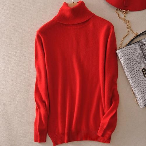 Pull col roulé 20% cashmere Pull vetement tendance femme Sentence Love Red / S