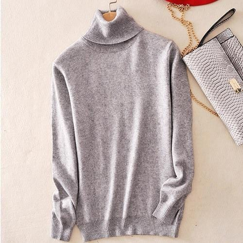 Pull col roulé 20% cashmere Pull vetement tendance femme Sentence Love Light Gray / S