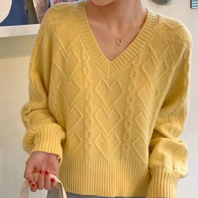 Pull col v vintage twist Pull vetement tendance femme Sentence Love One Size / YELLOW