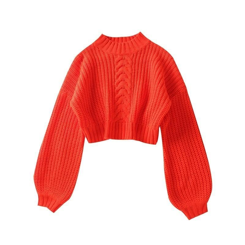 Pull court manches large couleur flashi Pull vetement tendance femme Sentence Love M / Red