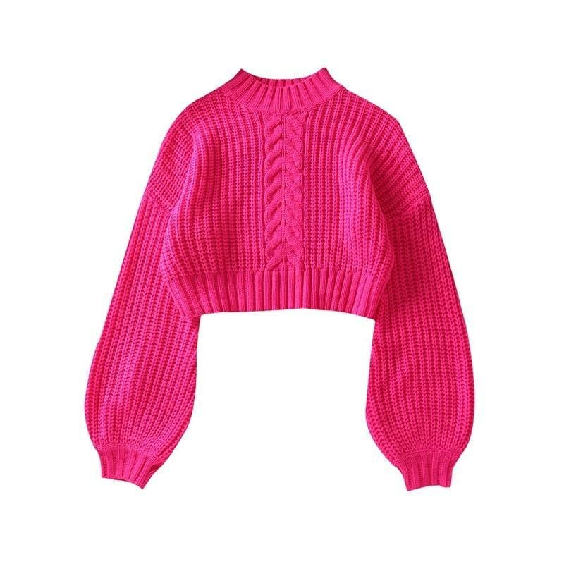 Pull court manches large couleur flashi Pull vetement tendance femme Sentence Love M / Pink