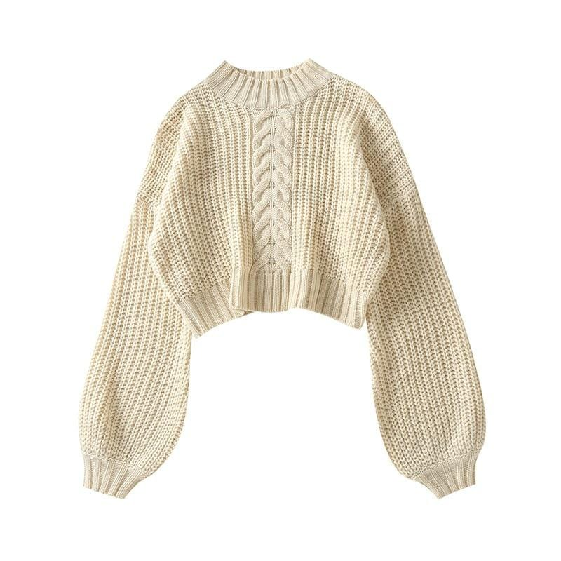Pull court manches large couleur flashi Pull vetement tendance femme Sentence Love M / Beige