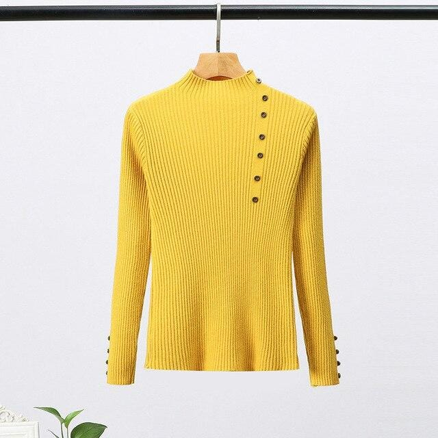 Pull moulant col haut avec boutons Pull vetement tendance femme Sentence Love One Size / Yellow