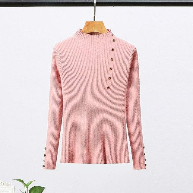 Pull moulant col haut avec boutons Pull vetement tendance femme Sentence Love One Size / Pink