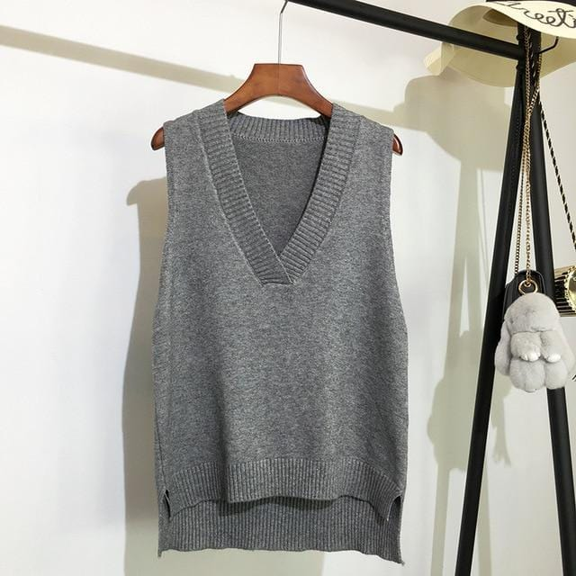 Pull sans manches basic loose Pull vetement tendance femme Sentence Love Gray / One Size