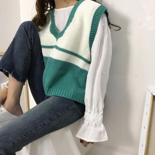 Pull sans manches rayure loose oversize Pull vetement tendance femme Sentence Love green / L