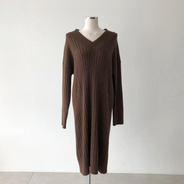 Robe loose vintage longue hiver Robe vetement tendance femme Sentence Love brown / One Size