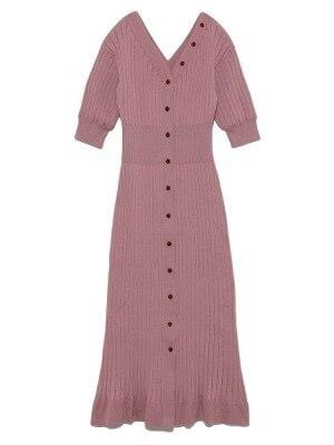 Robe pull midi avec boutons manches courte Robe vetement tendance femme Sentence Love Pink / One Size
