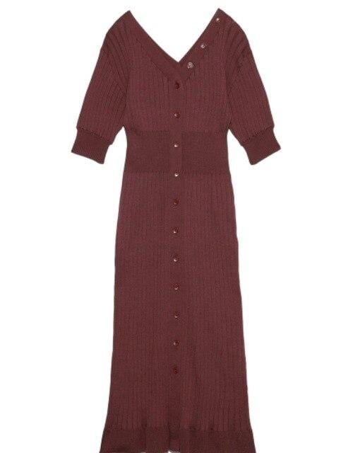 Robe pull midi avec boutons manches courte Robe vetement tendance femme Sentence Love Brown / One Size