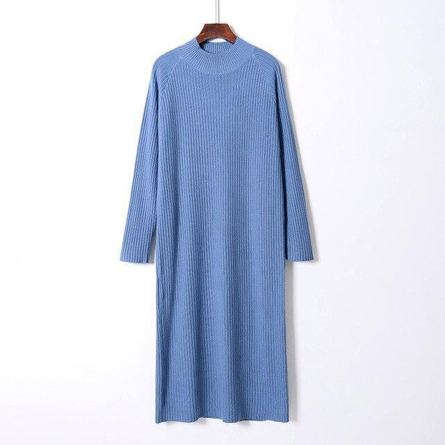 Robe pull oversize basic Robe vetement tendance femme Sentence Love Blue / One Size