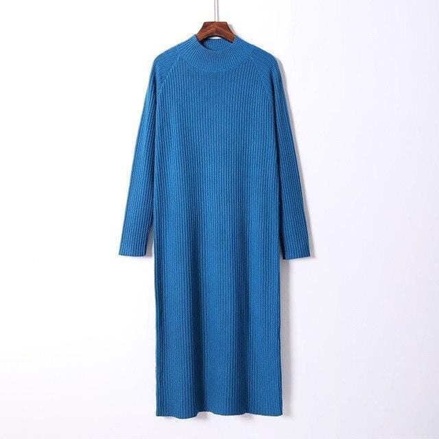 Robe pull oversize basic Robe vetement tendance femme Sentence Love Dark Blue / One Size