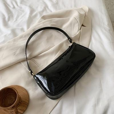 Sac baguette brillant à épaule Sac vetement tendance femme Sentence Love Black shoulder  bag