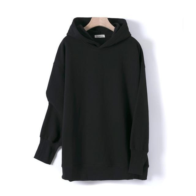 Sweat à capuche 80% Cotton oversize basic Pull vetement tendance femme Sentence Love Black / One Size