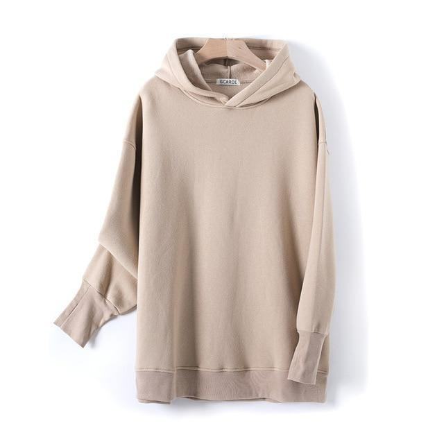 Sweat à capuche 80% Cotton oversize basic Pull vetement tendance femme Sentence Love Khaki / One Size