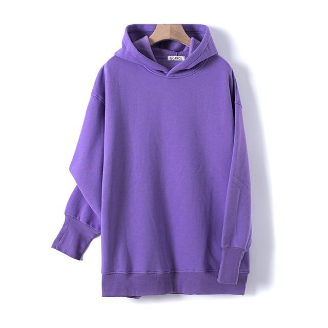 Sweat à capuche 80% Cotton oversize basic Pull vetement tendance femme Sentence Love Purple / One Size