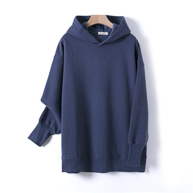 Sweat à capuche 80% Cotton oversize basic Pull vetement tendance femme Sentence Love Navy Blue / One Size