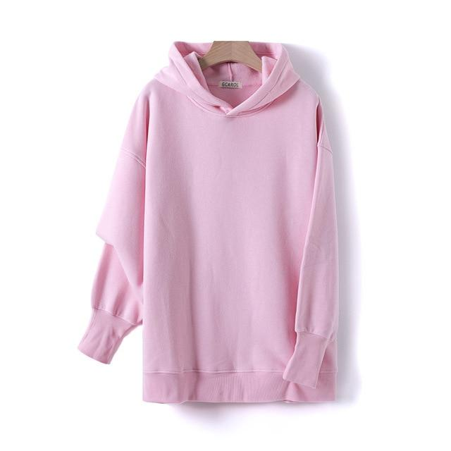 Sweat à capuche 80% Cotton oversize basic Pull vetement tendance femme Sentence Love Pink / One Size