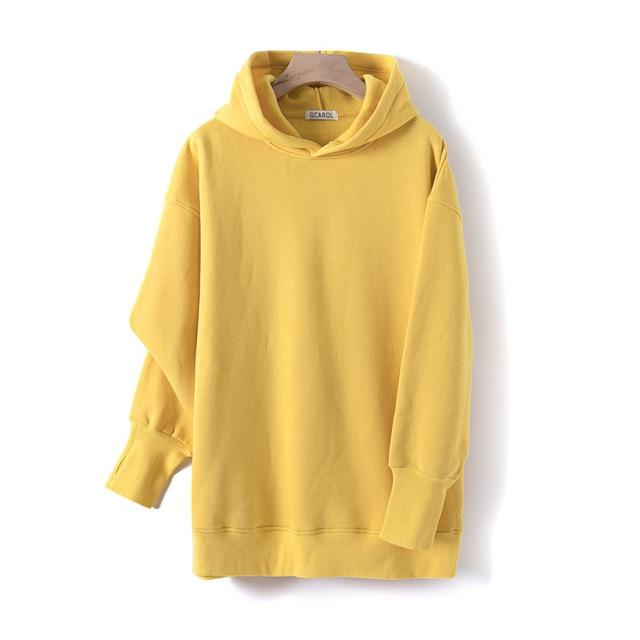Sweat à capuche 80% Cotton oversize basic Pull vetement tendance femme Sentence Love Yellow / One Size
