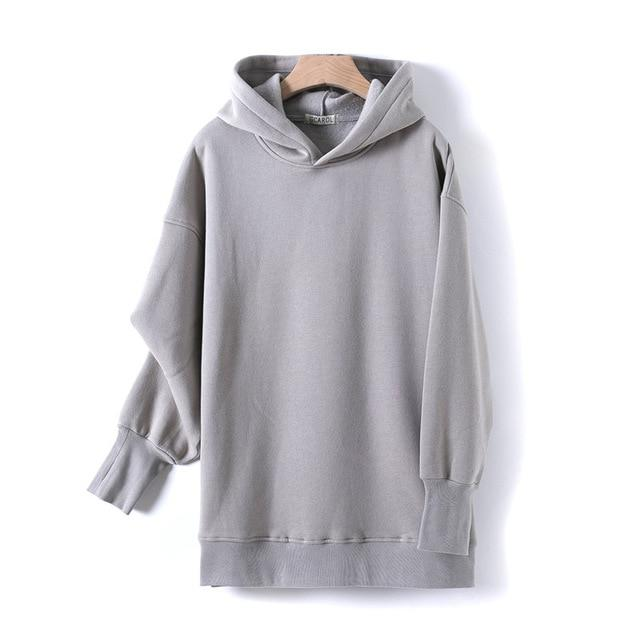 Sweat à capuche 80% Cotton oversize basic Pull vetement tendance femme Sentence Love Gray / One Size
