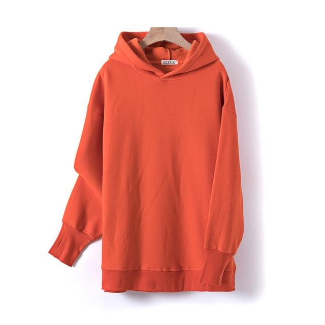 Sweat à capuche 80% Cotton oversize basic Pull vetement tendance femme Sentence Love Orange / One Size