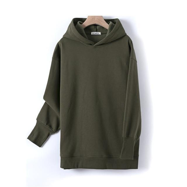 Sweat à capuche 80% Cotton oversize basic Pull vetement tendance femme Sentence Love Army Green / One Size