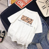 T-shirt imprimé leopard what a good day Haut vetement tendance femme Sentence Love white / L
