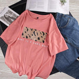 T-shirt imprimé leopard what a good day Haut vetement tendance femme Sentence Love Pink / M