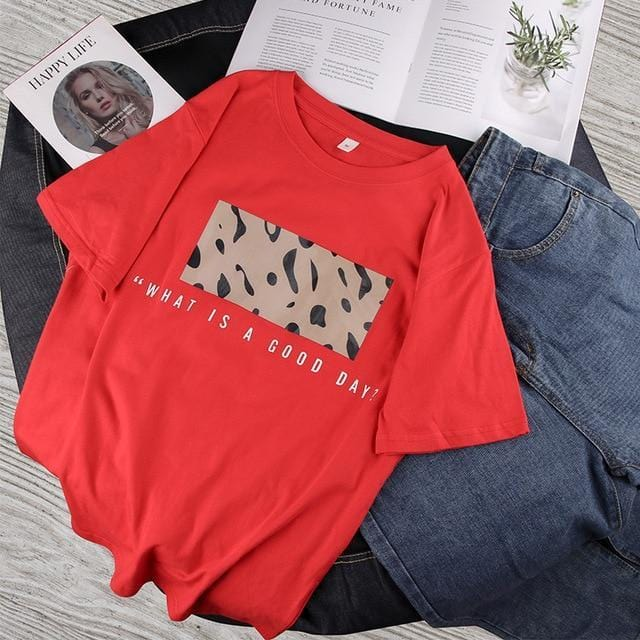 T-shirt imprimé leopard what a good day Haut vetement tendance femme Sentence Love Red / M