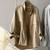 Trench mi long loose Veste vetement tendance femme Sentence Love Khaki jacket / M