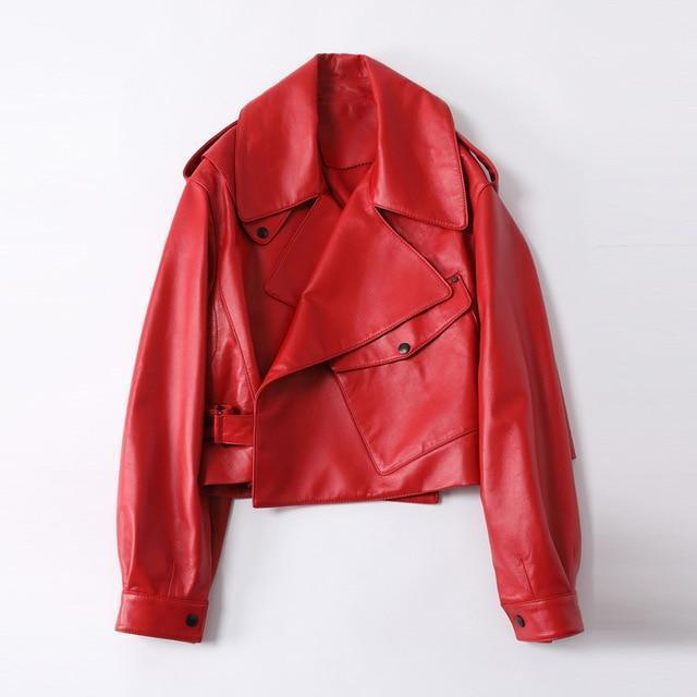 Veste motard loose simili cuir Veste vetement tendance femme Sentence Love Red / S