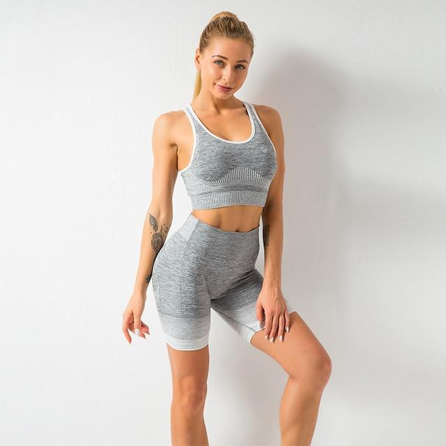 Vêtements de sport Gym Yoga Ensemble Sport vetement tendance femme Sentence Love gray B short 2pcs / S