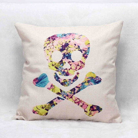 Skull Bones Printed Sofa Cushion 45cm