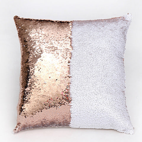 Stylish Two Tone Glitter Sequins Cushion Cover