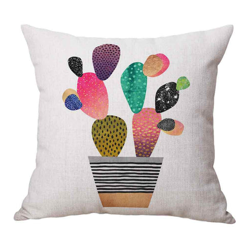 Colourful Plant Cushion Cover - Bright