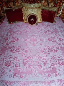 "Vintage Italian Wedding Blanket, Pink and White Embroidered Wool Blend, 68"" w. x 94"" l."