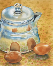 """Camp Coffee"", Original Transparent Watercolor on Arches 140 lb Paper, 8""w. x 10""h."