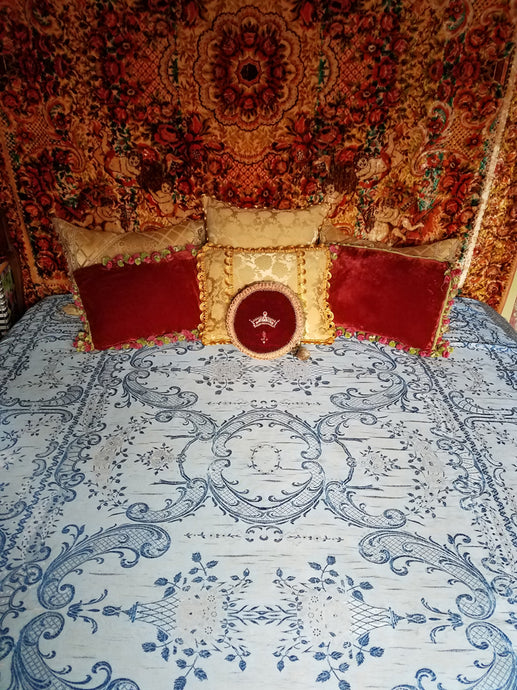 Vintage Italian Bedspread, Blue-on-blue Rayon and Cotton, 97