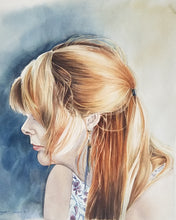 """Her Hair"", Original Transparent Watercolor on Arches 140 lb. Paper, 18""w. x 20"""